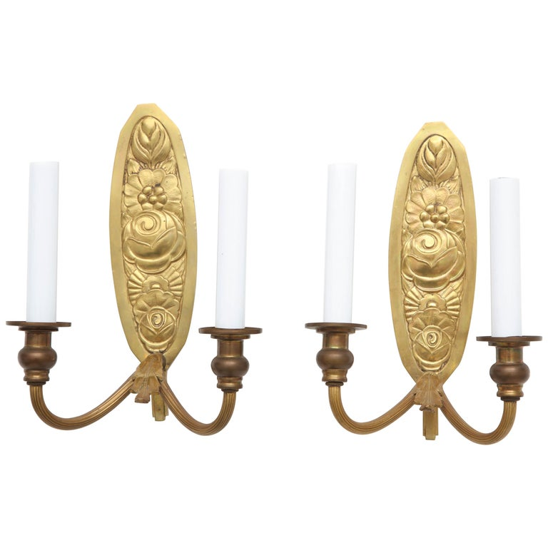 Pair of Vintage French Bronze Wall Candle Sconces For Sale