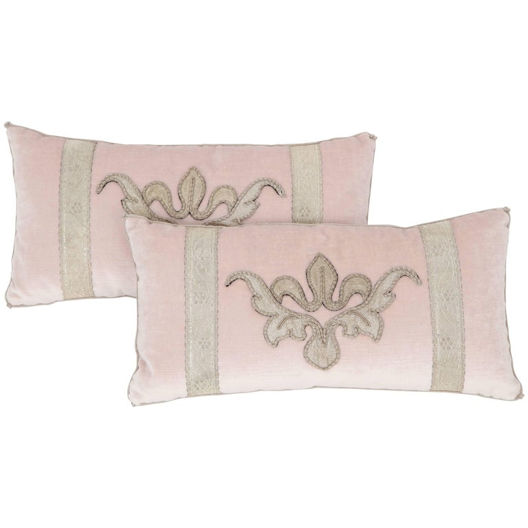 Blush Pink Decorative Pillows : Pair of Blush Pink Velvet Pillows For Sale at 1stdibs