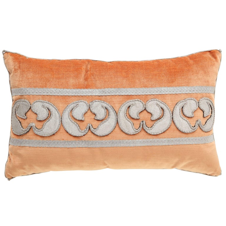 Velvet Pillow with Antique Metallic Accents For Sale