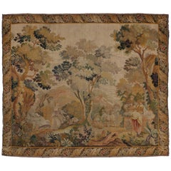 Antique French Rococo Noble Pastoral Style Tapestry Inspired by Francois Boucher