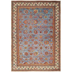Large Light Blue Background Antique Indian Agra Rug