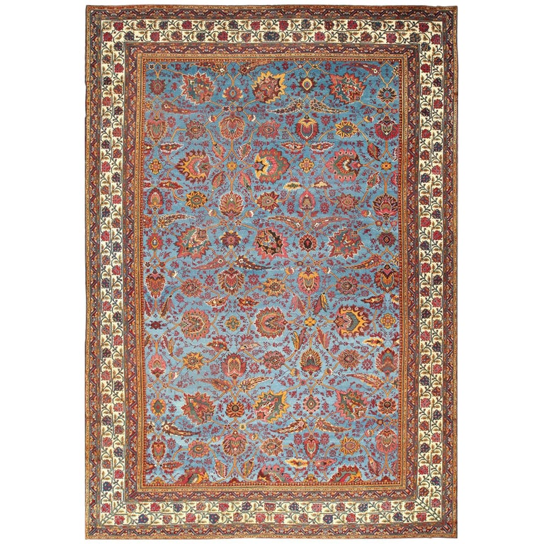 Arts And Crafts Rugs With Exciting Indian Agra Rug Design: Large Light Blue Background Antique Indian Agra Rug For