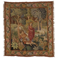 Antique French Aubusson Tapestry, Shepherd and Shepherdess Verdure Wall Hanging