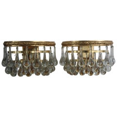 Pair of Mid - Century Murano Glass Wall Sconces Attr. to E.Palme, circa 1960s
