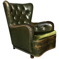 1930s Danish Green Button Tufted Leather Lounge Chair