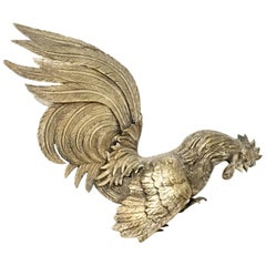 """Antique French Silver Plate """"Fighting"""" Cockerel Rooster Sculpture"""