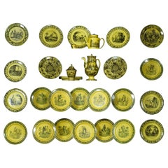 Set of 31 Pieces of 19th Century Yellow Creil and Montereau Tableware
