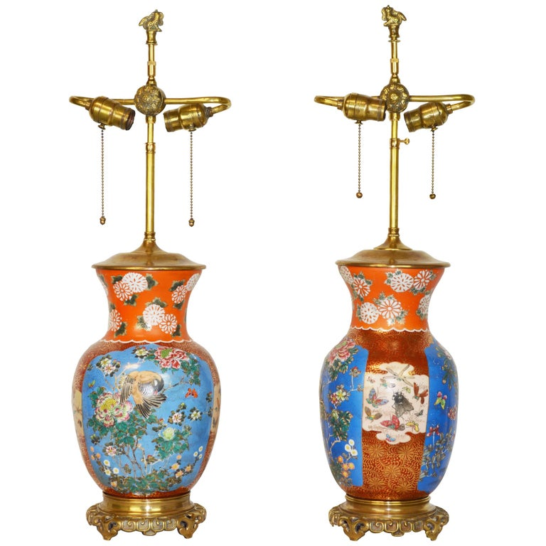 Pair of 19th Century Japanese Porcelain Lamps