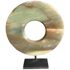 Important Ancient Chinese Heavenly Jade Bi Disc Green Cloud Bands Pattern