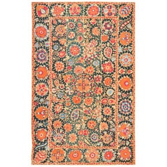 Antique Floral Uzbek Suzani Embroidery Textile. Size: 5 ft 4 in x 8 ft 4 in