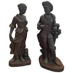 Pair of Mid-19th Century Hand-Carved Figures