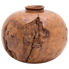 Melvin Lindquist Turned Wild Cherry Burl Wood Vase, USA, 1973