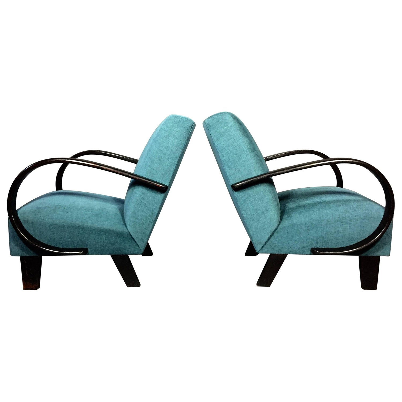 Bauhaus tubular steel lounge chair at 1stdibs - Pair Of Bauhaus Czech 1930s Curved Arm Lounge Chairs