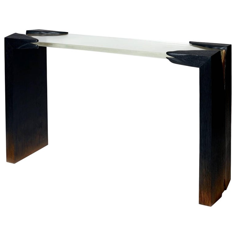 Wood, Glass and Gold Leaves One of a Kind Console Signed by Hoon Moreau