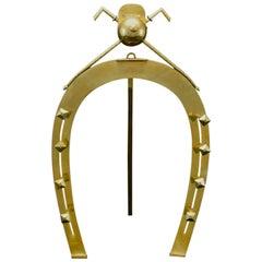 Large Brass Horseshoe Whip Rack
