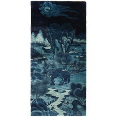 Beautiful Small Antique Scenic Pictorial Blue Chinese Rug