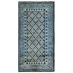 Small Scatter Size Blue Antique Chinese Rug