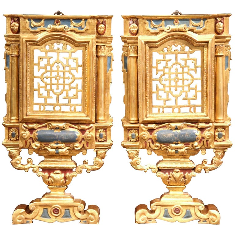Large Pair of 18th Century Italian Carved Polychrome and Gilt Wall Carvings For Sale