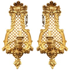 Large Pair of 19th Century French Louis XV Bronze Sconces with Shell and Foliage