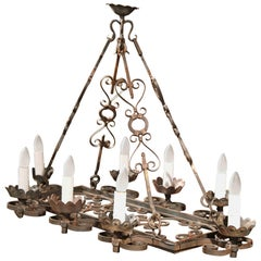 19th Century French Eight-Light Iron Verdigris Chandelier with Gilt Accents