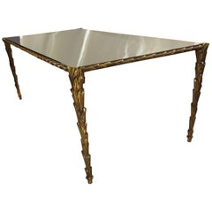 French Bronze Mirror Glass Coffee Cocktail Table Branch Guerin Bagues Jansen