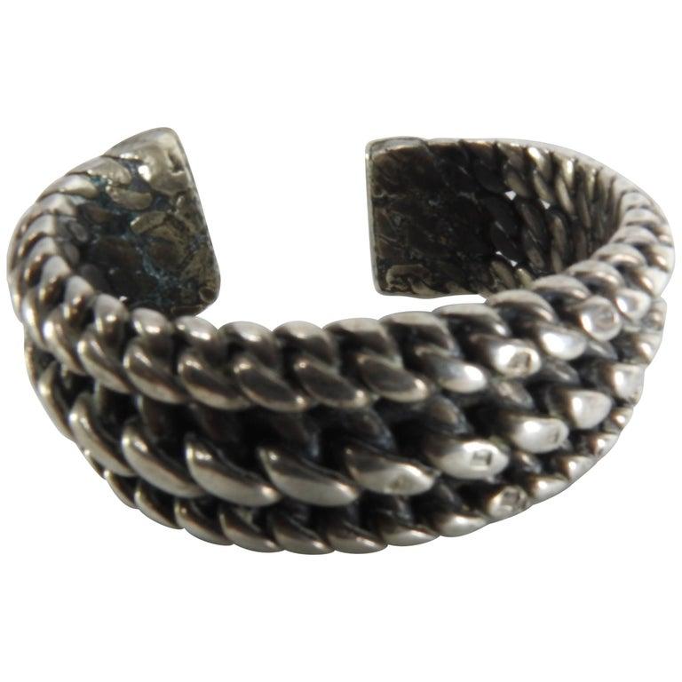 Vintage Braided Sterling Silver Cuff Bracelet For Sale
