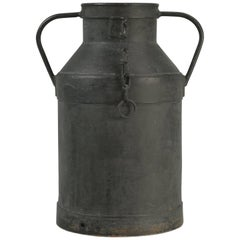 Old French Heavy Metal Container or Jug