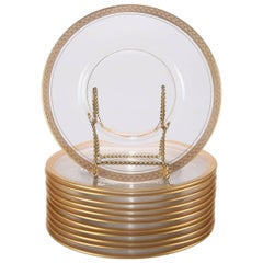 12 Crystal Dessert Plates with Gold Olive Branch Border, 20th Century