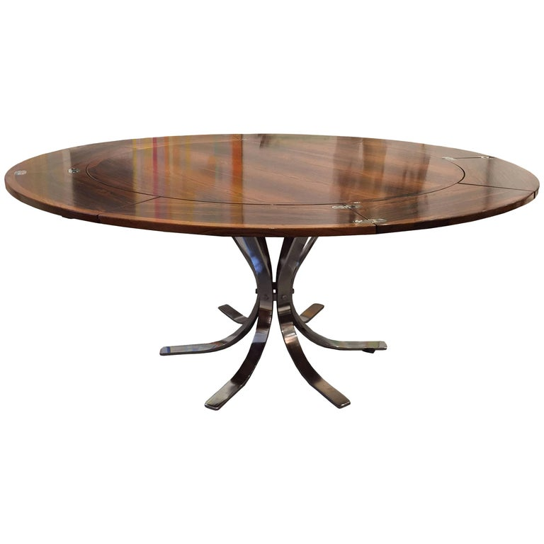 "Danish Mid-Century Modern Rosewood and Chrome ""Lotus Design"" Base 'Dyrlund'"