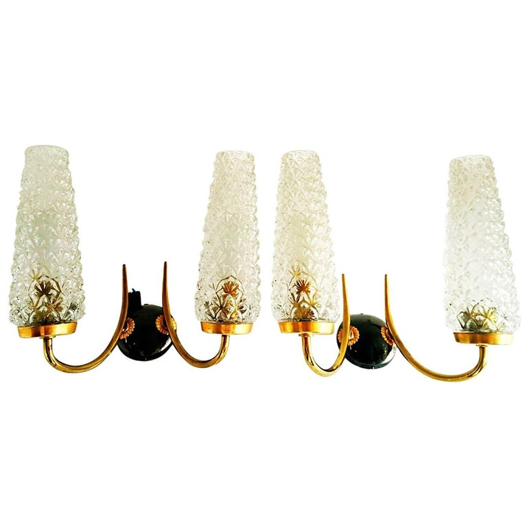 Arlus mid-century sconce glass pair gilt frame french, 1950 For Sale
