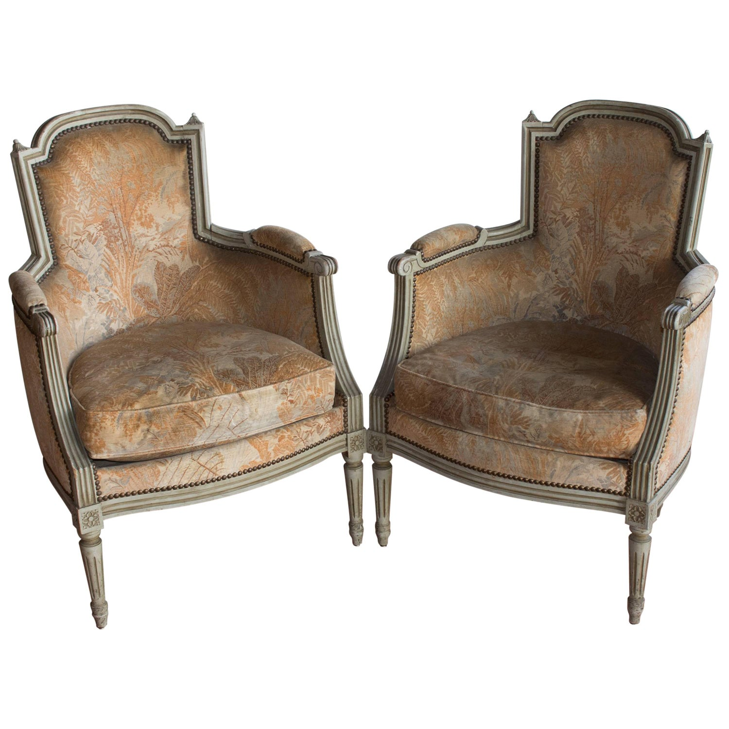 French Louis XVI Style Bergere Chair 1950 at 1stdibs