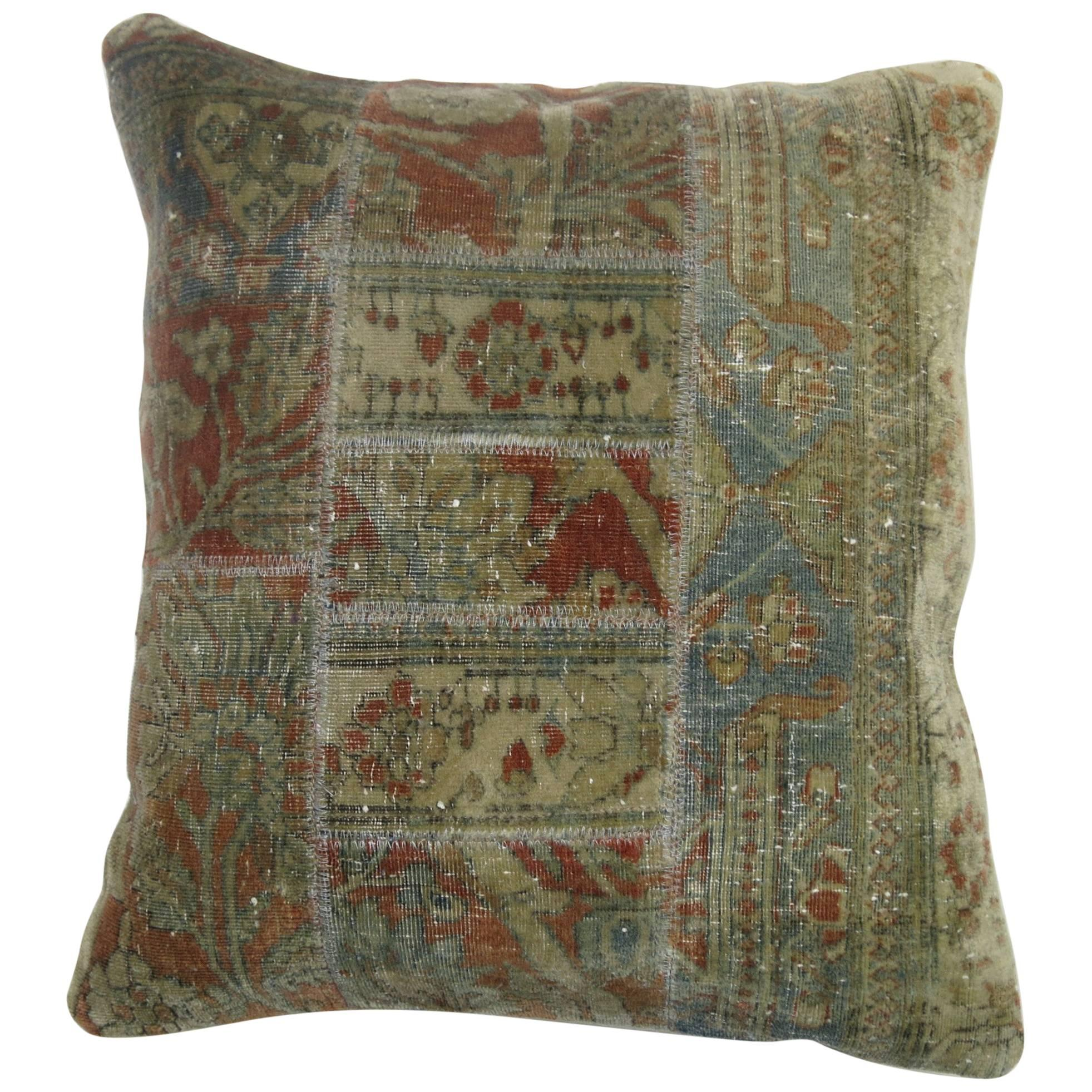 Mohtasham Kashan Persian Patchwork Rug Pillow