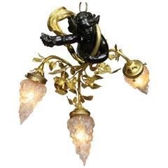 French Belle Époque Patinated and Gilt Bronze & Metal Hovering Cherub Chandelier