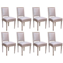 Set of Eight Painted Louis XVI-Style Side Chairs for Dining