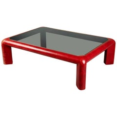 Karl Springer Red Leather & Brass 'Mark II' Cocktail Table,  Signed & Dated 1984