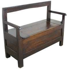 Antique French Chestnut Box Seat or Settle