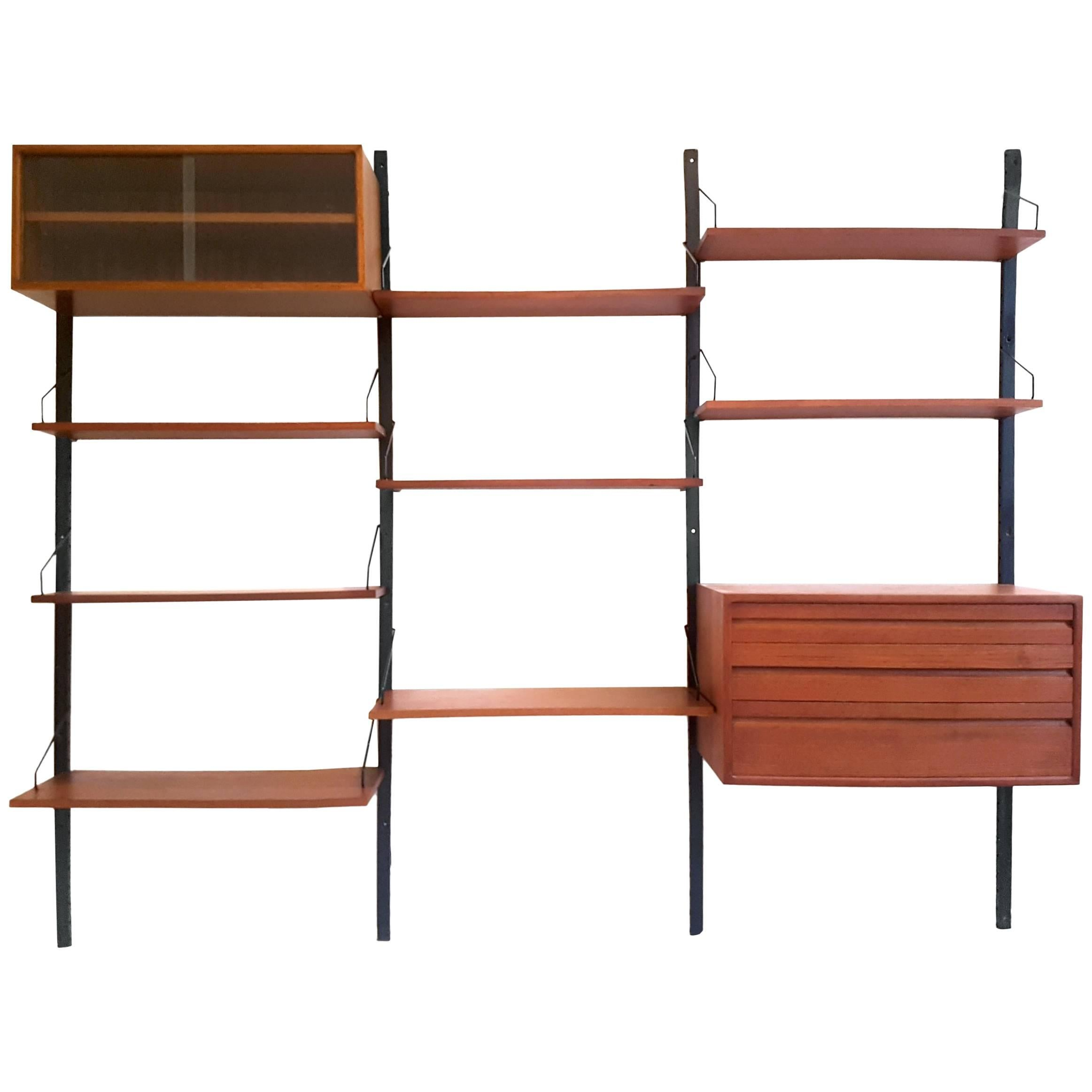 danish teak wood royal system wall unit by poul cadovius