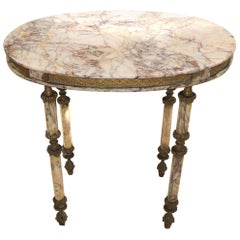 French Dore Ormolu Bronze Swag Oval Marble Side Coffee Gueridon Table