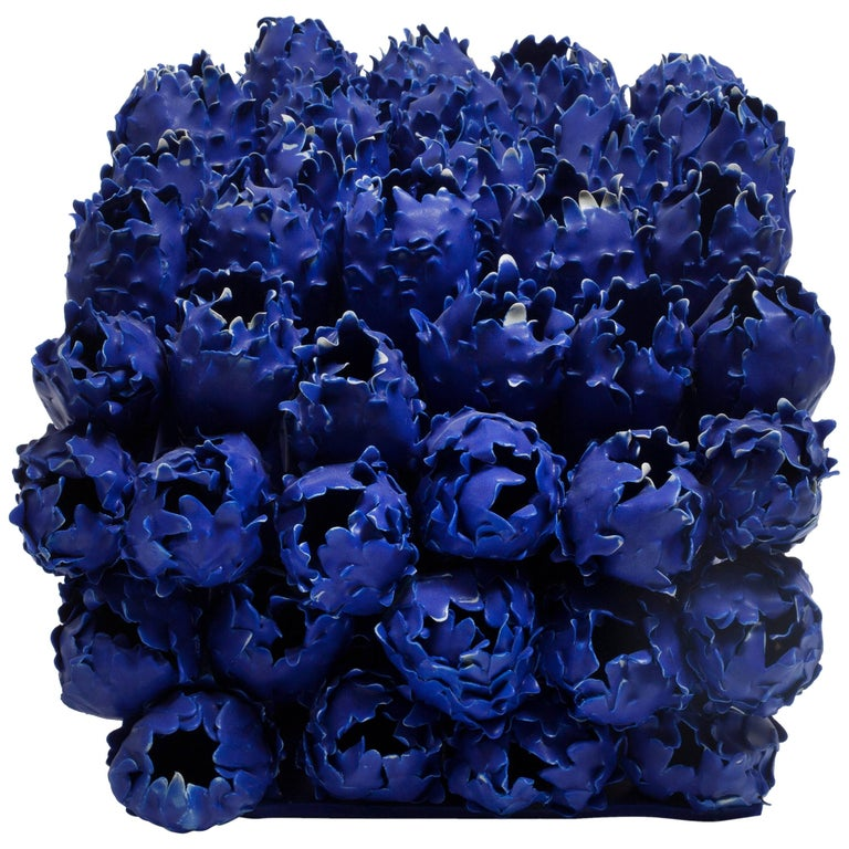 Flowers in Blue, Porcelain Sculpture by Anat Shiftan 1