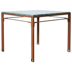 Squares Table in Contemporary Oxidized Steel and Emerald Green Marble