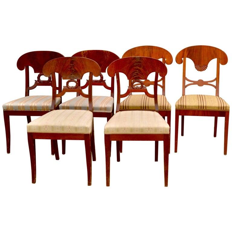 19th Century Set of Six Mixed Antique Biedermeier Swedish Dining Chairs Wreath