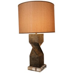 Tessellated Marble Table Lamp on Lucite Base