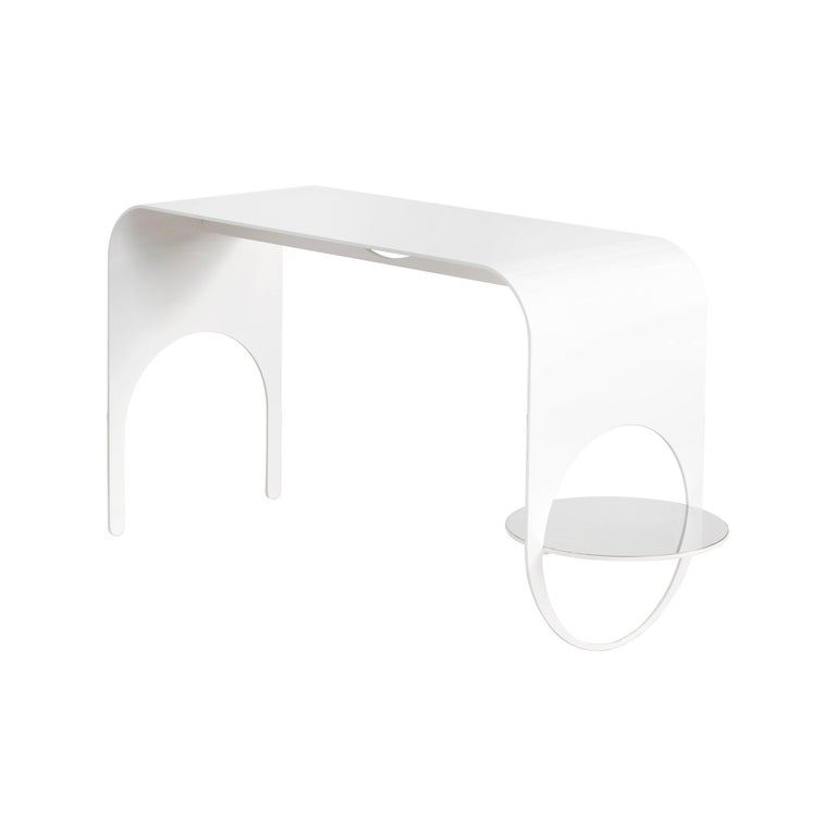 Thin Table 2 in Contemporary White Powder Coated Steel and Polished Steel Shelf For Sale
