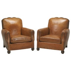 French Leather Club Chairs, Correctly Restored