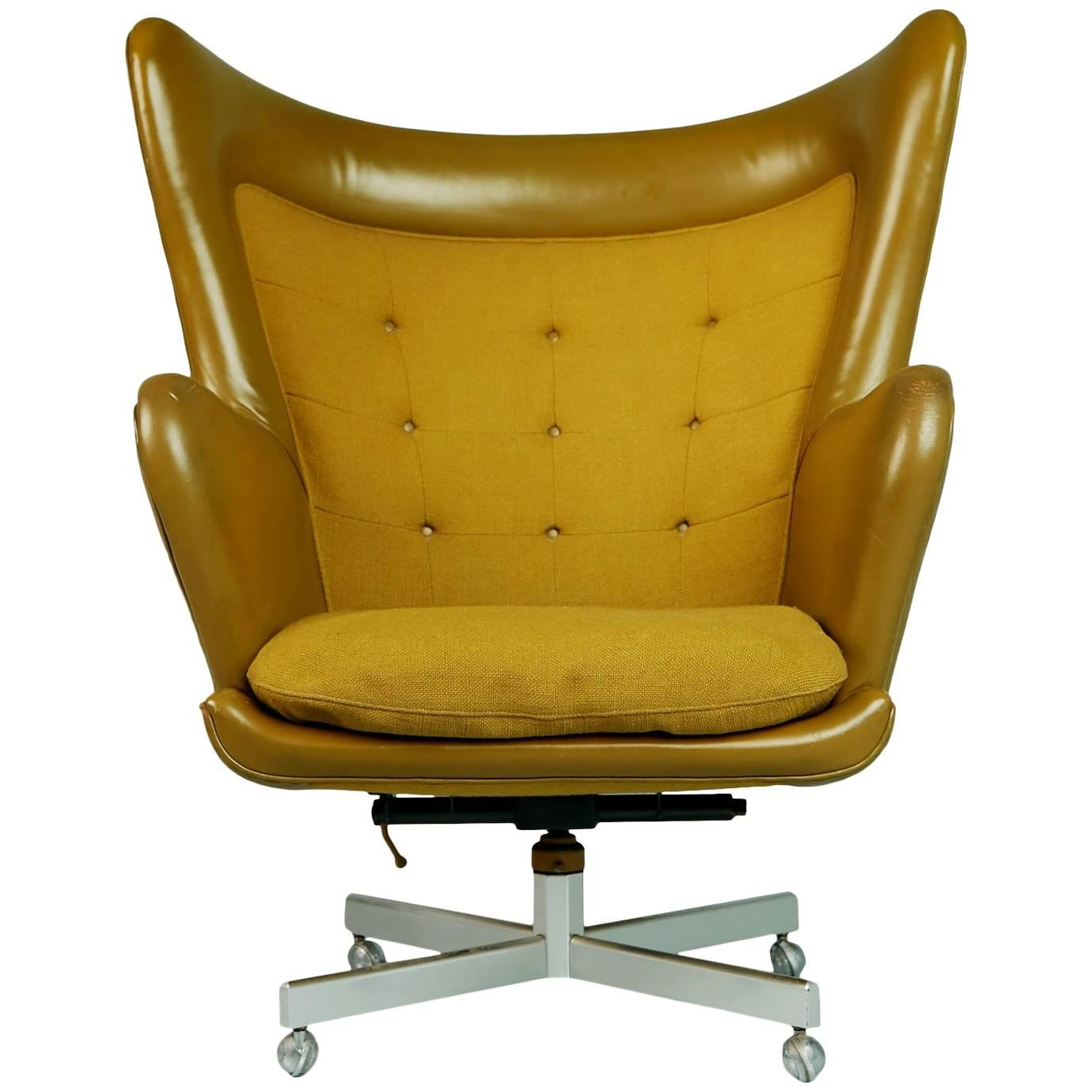 George Kasparian Leather Wingback Executive Chair, circa 1960