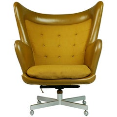 George Kasparian Leather Wingback Executive Chair, circa 1960