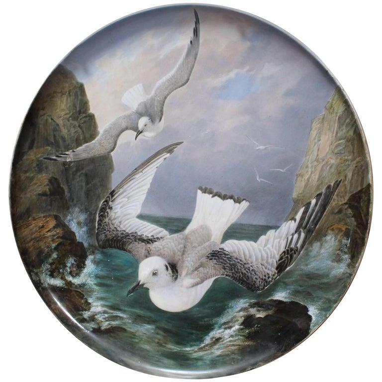Fine 19th Century Creil et Montereau Painted Seagull Charger