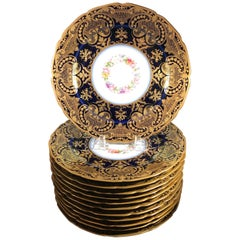 Opulent French Heavy Gilt and Cobalt Plates Set of 12