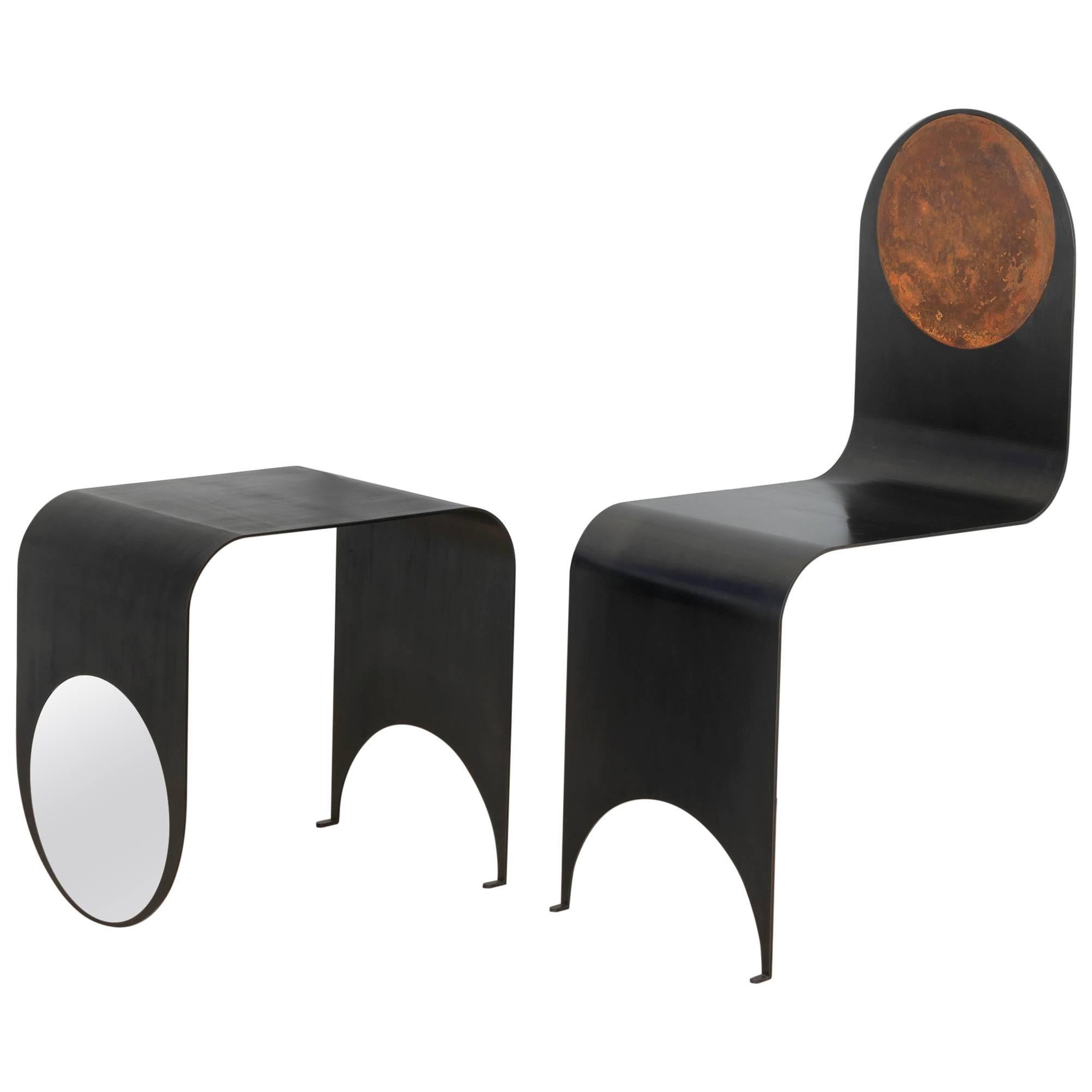 Thin Chair in Contemporary Blackened Steel and Oxidized Steel