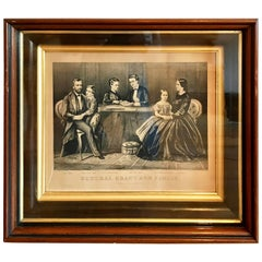 19th Century Currier & Ives Civil War Lithograph, General Grant and Family